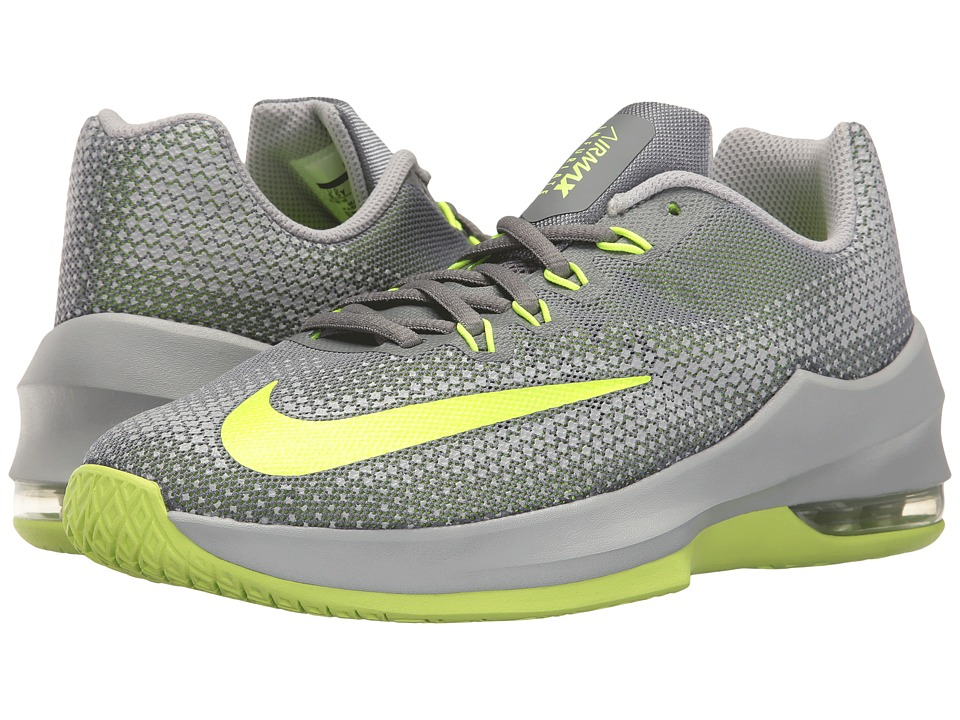 Nike Kids Air Max Infuriate Basketball (Big Kid) (Cool Grey/Volt/Wolf Grey) Boys Shoes
