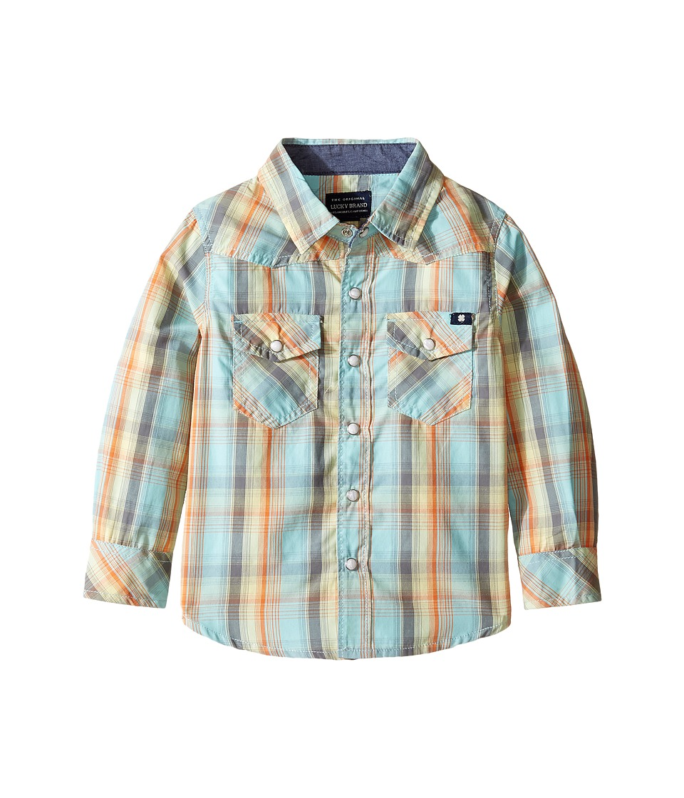 Lucky Brand Kids Plaid Woven Western Shirt (Toddler) (Turquoise) Boy