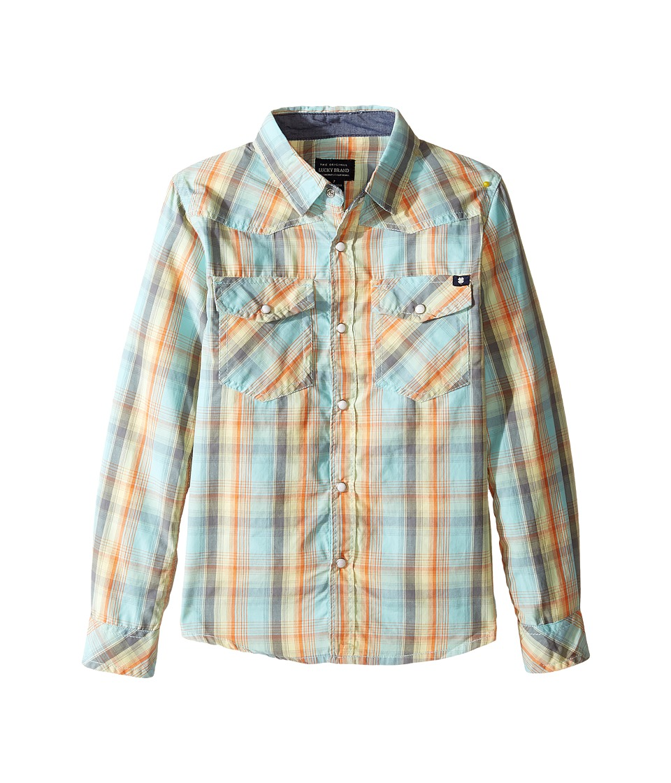 Lucky Brand Kids Plaid Woven Western Shirt (Little Kids/Big Kids) (Turquoise) Boy