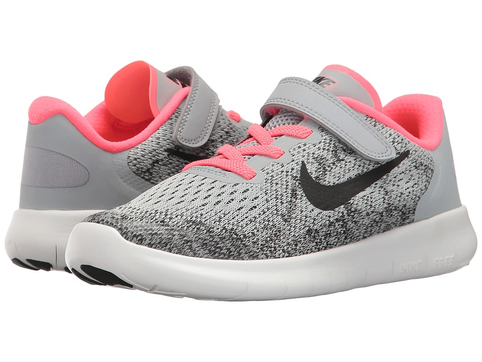 Nike Kids Free RN 2017 (Little Kid) (Wolf Grey/Black/Racer Pink/White) Girls Shoes