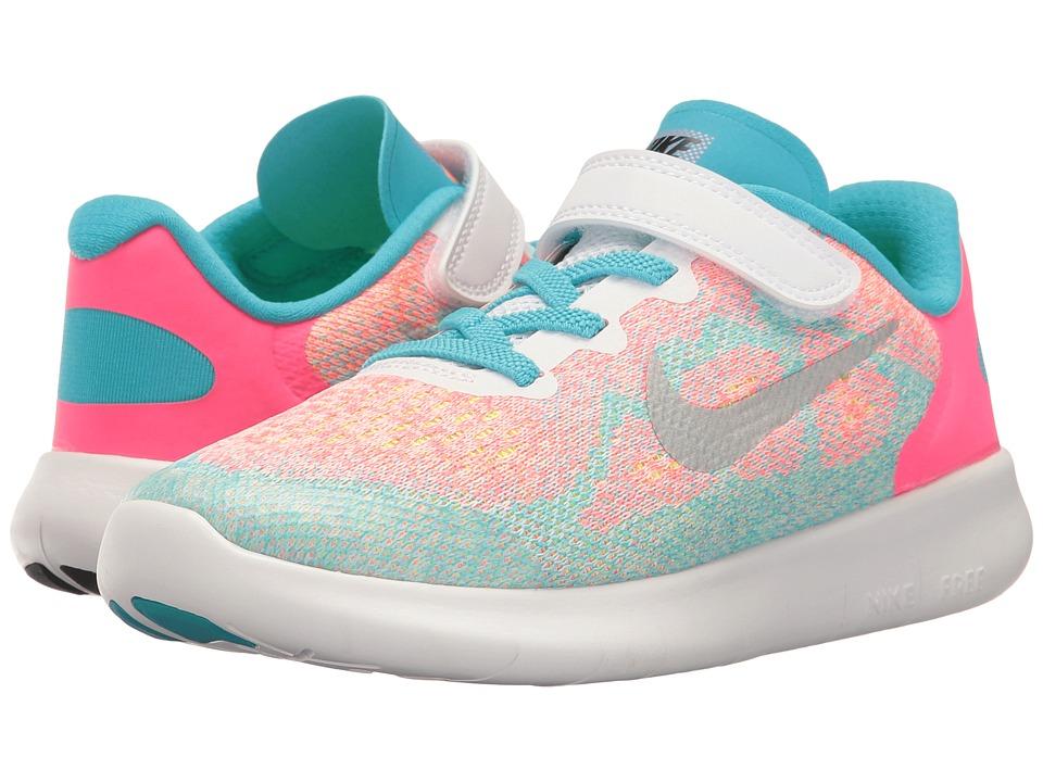 Nike Kids Free RN 2017 (Little Kid) (White/Metallic Silver/Chlorine Blue) Girls Shoes