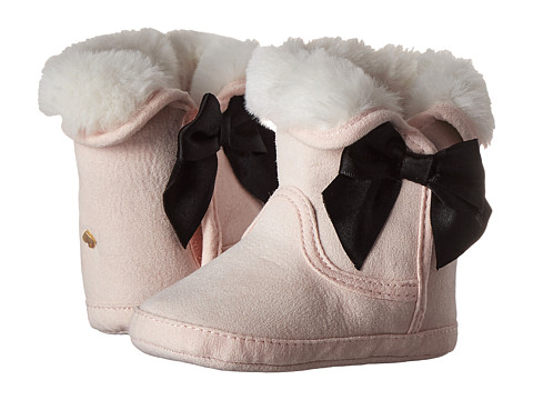 Kate Spade New York Kids Faux Fur Booties w/ Bow (Infant/Toddler) - Satin Slipper