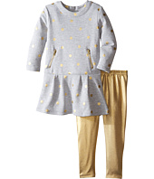 Kardashian Kids - Gold Dot Fleece Dress with Metallic Leggings Two-Piece Set (Infant)