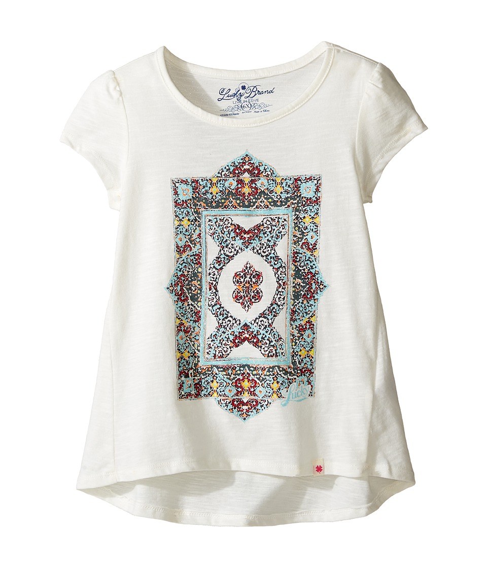 Lucky Brand Kids Short Sleeve Tee w/ Princess Seams and Screen Print (Little Kids) (Egret) Girl