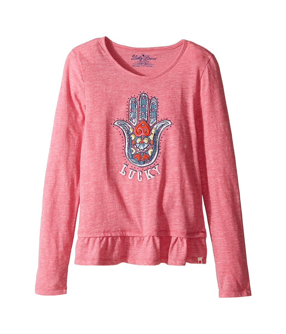Lucky Brand Kids Long Sleeve Tee w/ Ruffle and Hamsa Screen Print (Little Kids) (Magenta) Girl