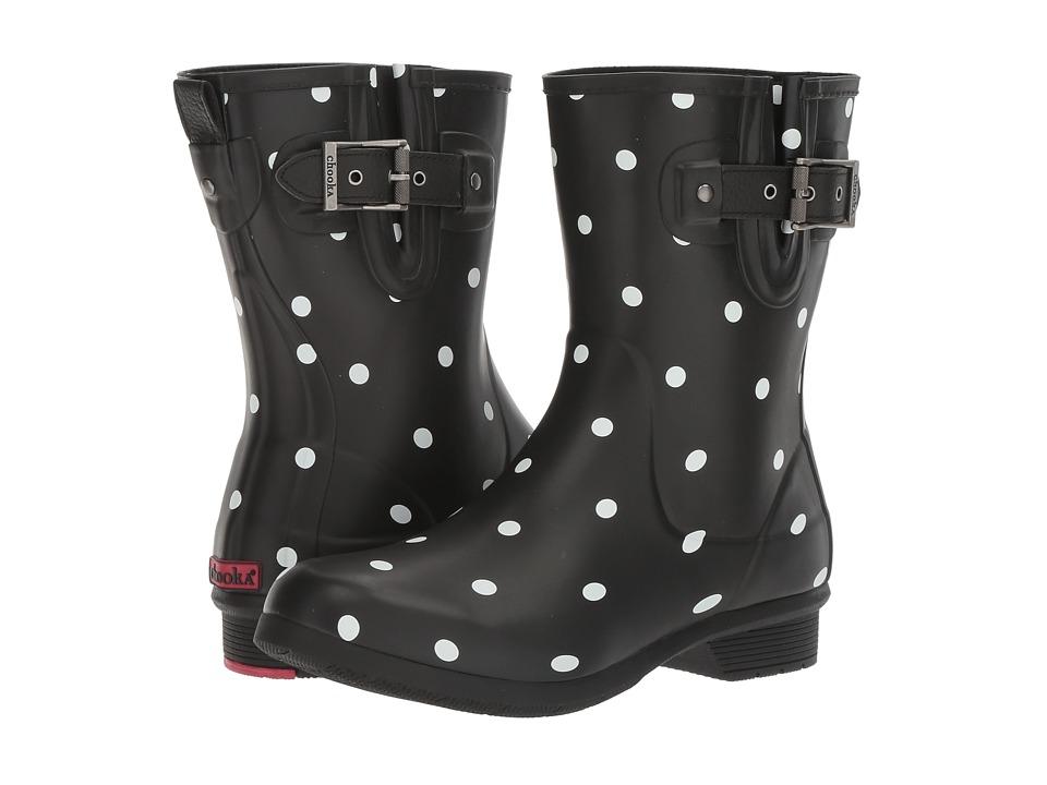 CHOOKA Classic Mid Lottie Dot (Black Matte) Women's Rain ...