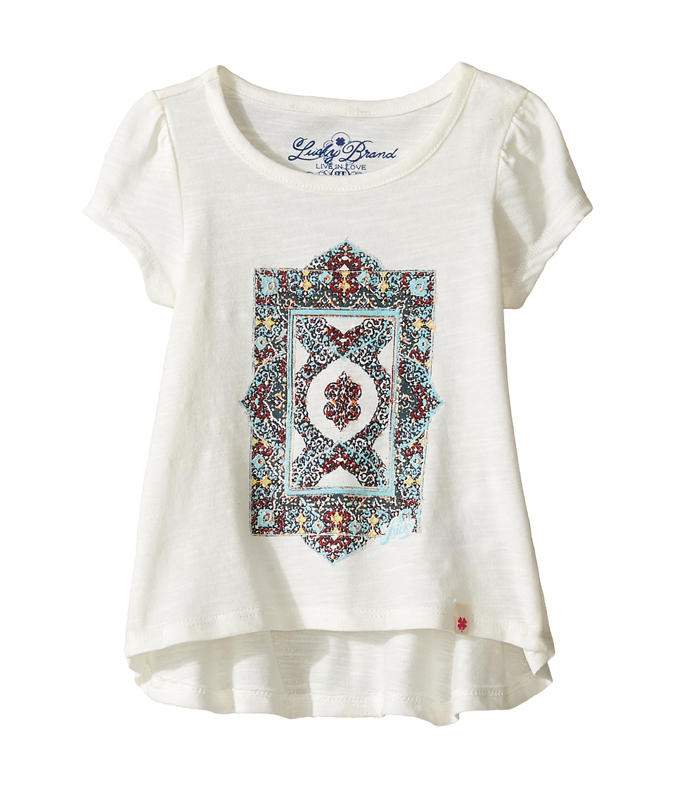 Lucky Brand Kids Short Sleeve Tee w/ Princess Seams and Screen Print (Toddler) (Egret) Girl