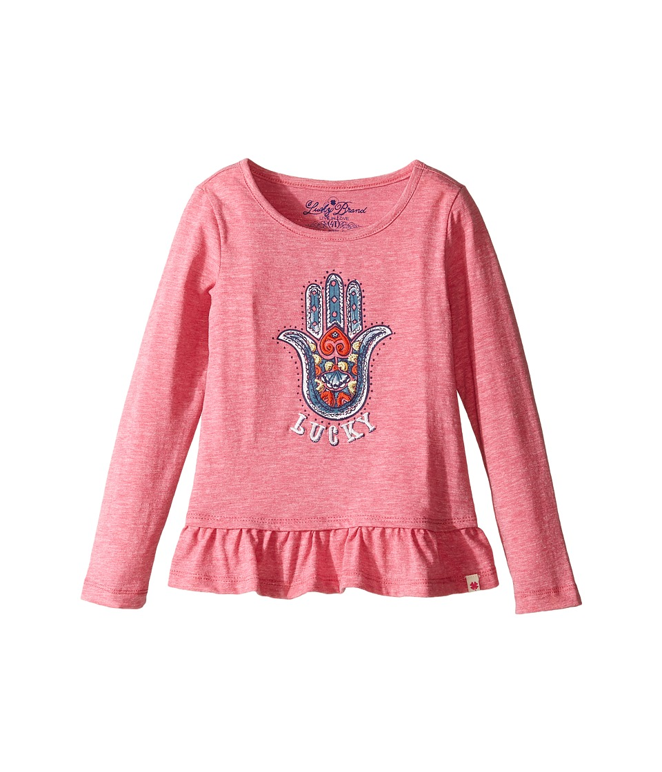 Lucky Brand Kids Long Sleeve Tee w/ Ruffle and Hamsa Screen Print (Toddler) (Magenta) Girl