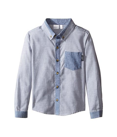 Kardashian kids textured shirt with chambray trim toddler for Chambray shirt for kids