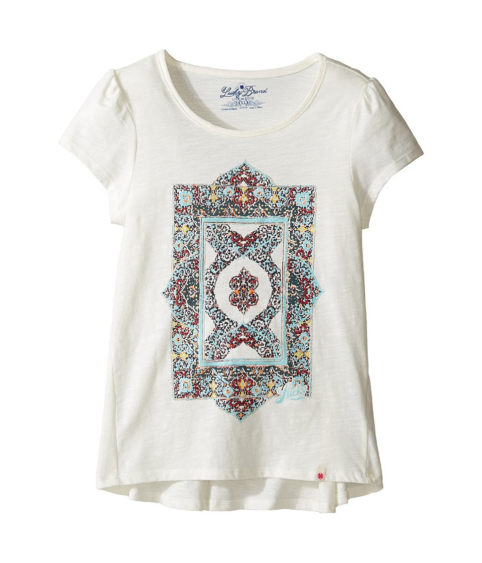 Lucky Brand Kids Short Sleeve Tee w/ Princess Seams and Screen Print (Big Kids) (Egret) Girl