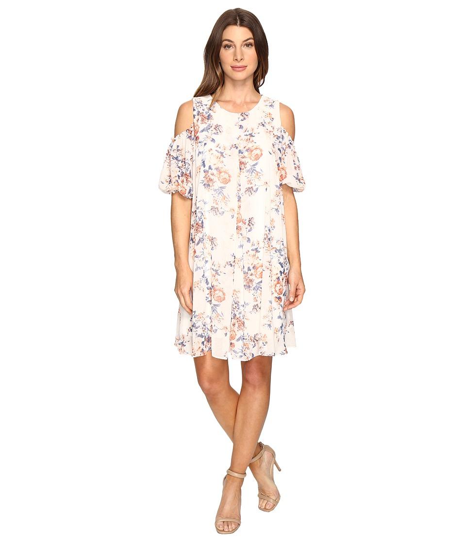 Christin Michaels - Boulle Floral Cold Shoulder Dress