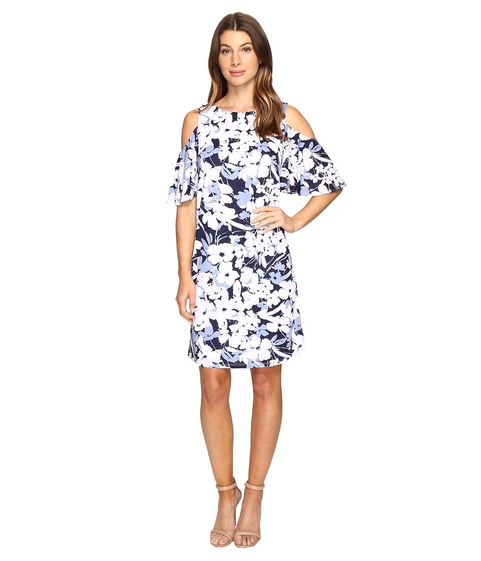 Christin Michaels Danish Floral Cold Shoulder Dress (Blue/White) Women