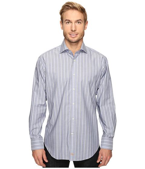 Thomas Dean & Co. Long Sleeve Dashed Stripe Sport Shirt - Blue