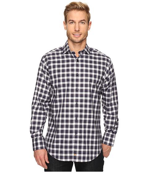 Thomas Dean & Co. Long Sleeve Classic Plaid Sport Shirt - Navy