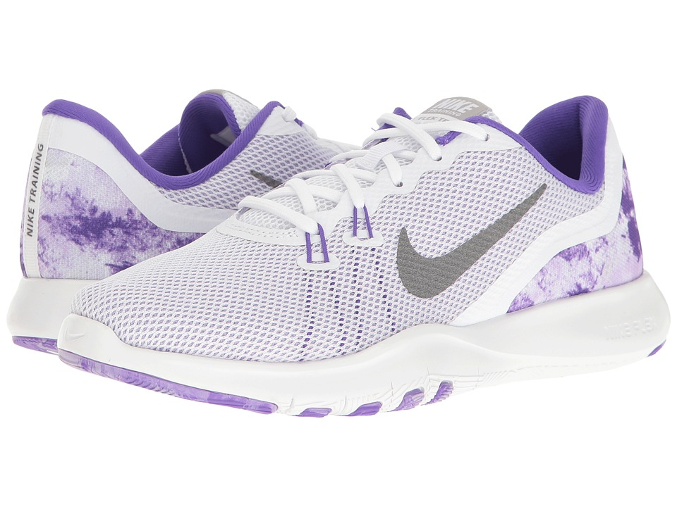 Nike - Flex Trainer 7 Print (White/Metallic Dark Grey/Hydrangeas) Womens Cross Training Shoes