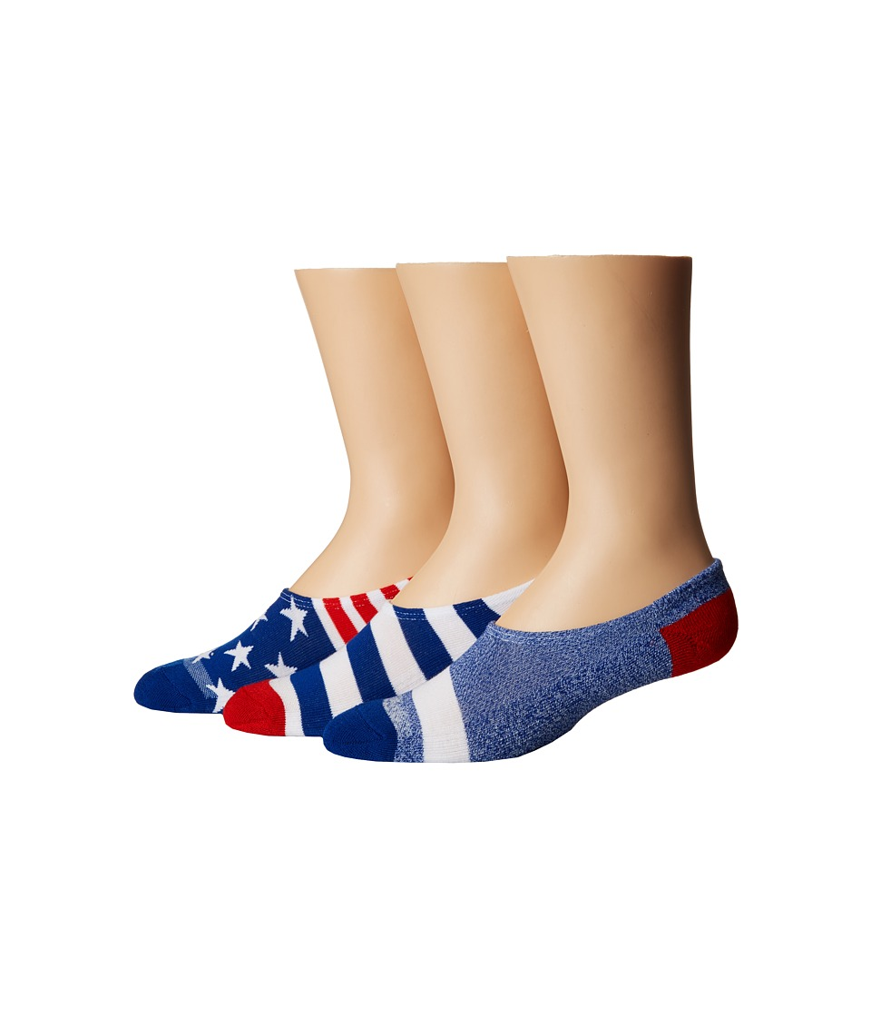 Converse - Chucks Bars and Stars 3-Pair Pack (Red/White/Blue) Mens No Show Socks Shoes