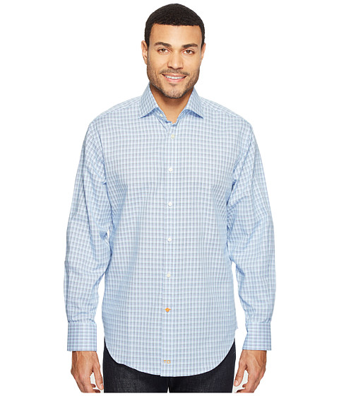 Thomas Dean & Co. Long Sleeve Check Sport Shirt - Blue