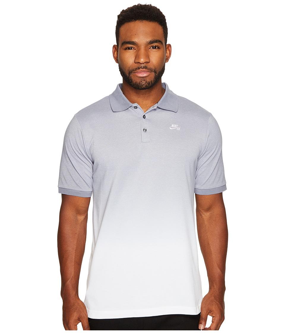 Nike SB - SB Dry Polo Dip-Dye (Cool Grey/White/White) Men...