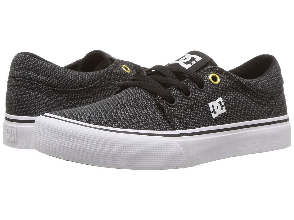 DC Kids Trase TX SE (Little Kid/Big Kid) (Black/Grey/White) Boys Shoes