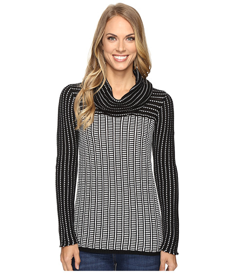 Calvin Klein Grid-Striped Cowl Neck Sweater - Black/White