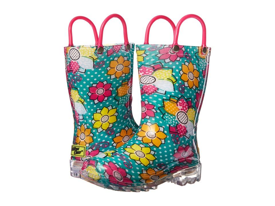 Western Chief Kids Annabelle Lighted Rain Boot (Toddler/Little Kid) (Aqua) Girls Shoes