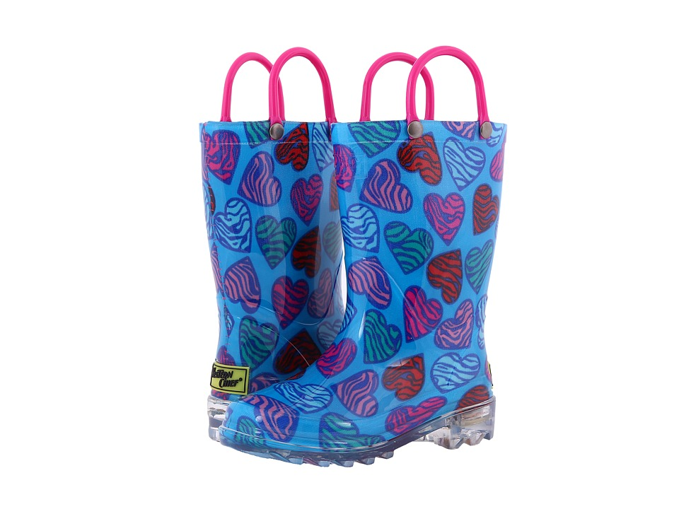 Western Chief Kids Wild Hearts Lighted Rain Boot (Toddler/Little Kid) (Multi) Girls Shoes