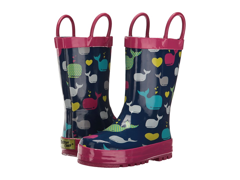 Western Chief Kids Whales Rain Boot (Toddler/Little Kid/Big Kid) (Navy) Girls Shoes