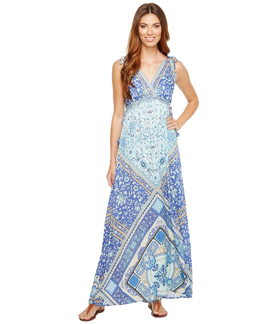 Hale Bob Sun Kissed Rayon Stretch Satin Woven Maxi Dress (Blue) Women