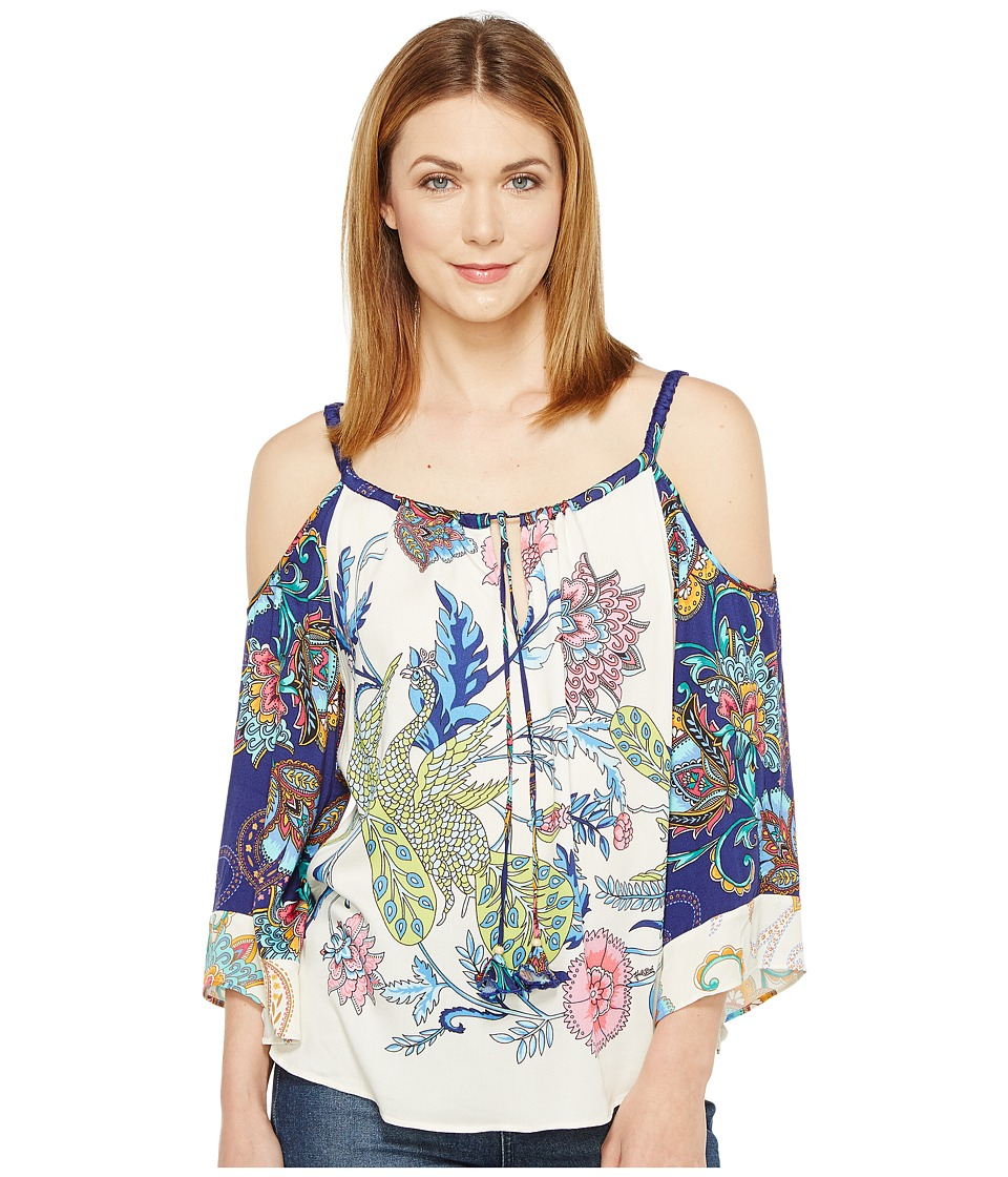 Hale Bob - Sonic Bloom Rayon Stetch Satin Woven Cold Shoulder Top