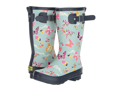 Western Chief Kids Classic Tall Butterfly Floral Rain Boot (Little Kid/Big Kid) - Sky Blue