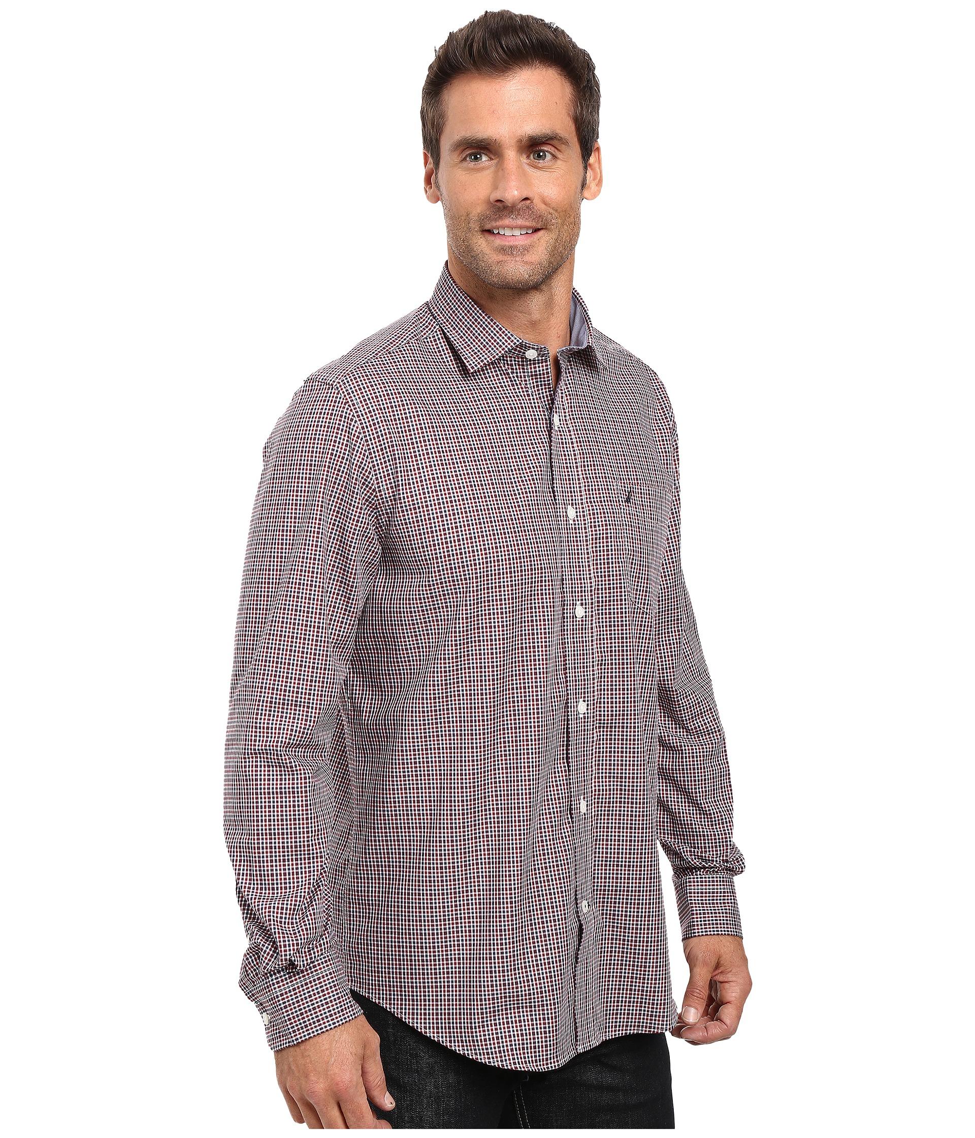 Nautica long sleeve wrinkle resistant small check shirt for Wrinkle resistant dress shirts