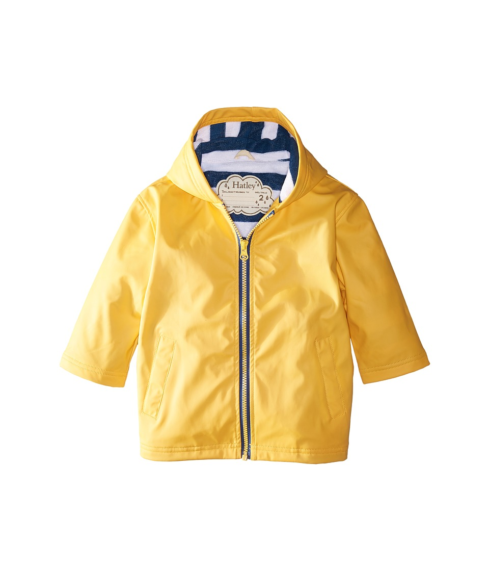 Hatley Kids - Yellow with Navy Stripe Lining Splash Jacket (Toddler/Little Kids/Big Kids) (Yellow) Boys Coat