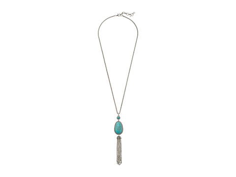 Lucky Brand Turquoise Tassel Pendant Necklace - Silver