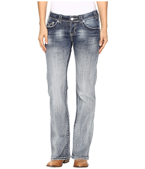 Rock and Roll Cowgirl Riding Bootcut Jeans in Medium Vintage W7-9628