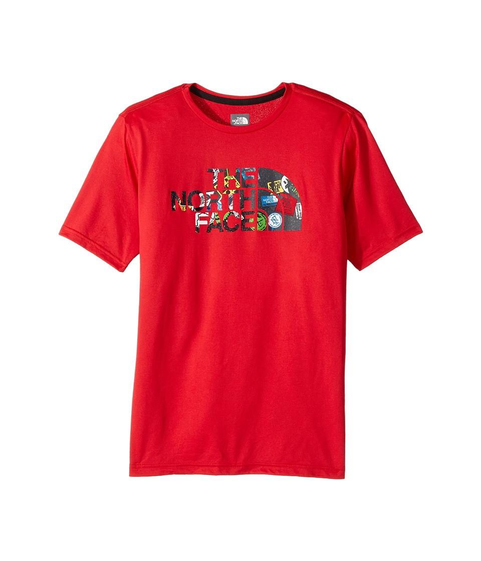 The North Face Kids Short Sleeve Reaxion Tee (Little Kids/Big Kids) (TNF Red/Sticker Bomb Print) Boy