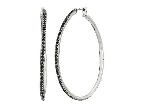 Lucky Brand Pave Large Hoop Earrings - Silver