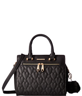 Rampage - Heart Quilted Satchel with Pom