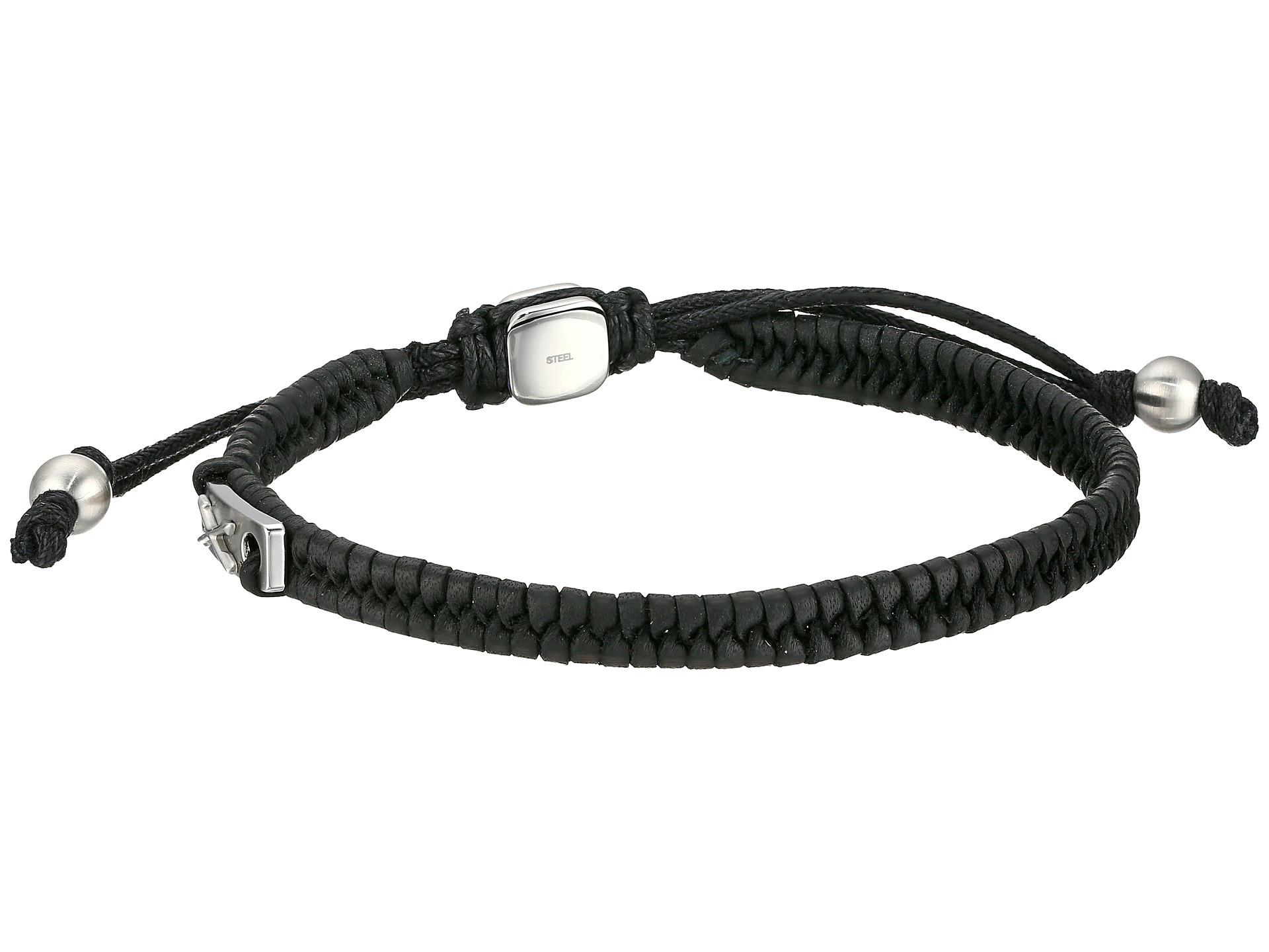 fossil vintage casual leather bracelet black zappos