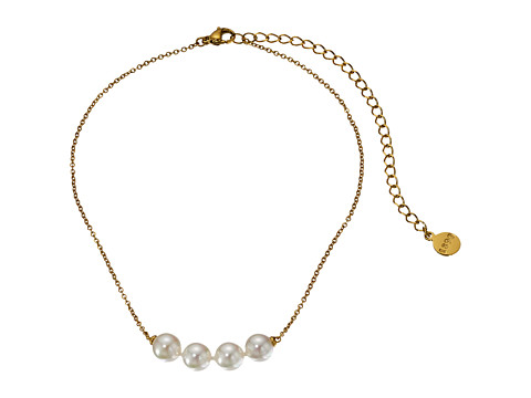 Majorica 8mm White Pearls Plated Steel Choker Necklace - White
