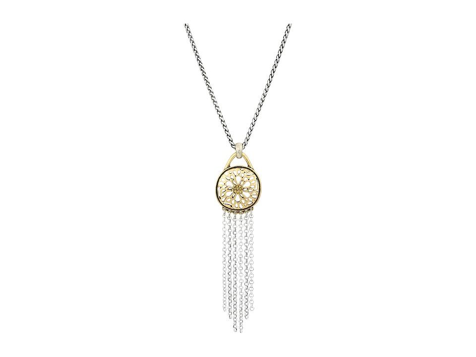 Lucky Brand Sugarplum Fringe Pendant Necklace (Two-Tone) ...