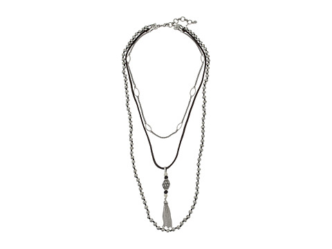 Lucky Brand Bone Leather Lucky Layer Necklace
