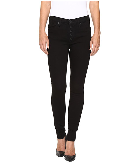 Hudson Ciara High-Rise Exposed Buttons Super Skinny in Black - Black