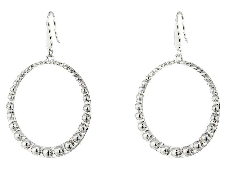Steve Madden 40mm Beaded Design Hoop Earrings (Silver) Ea...