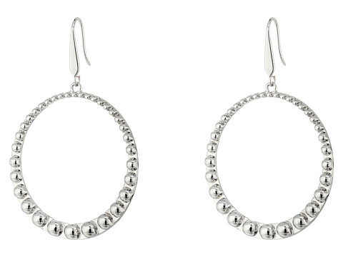 Steve Madden 40mm Beaded Design Hoop Earrings - Silver