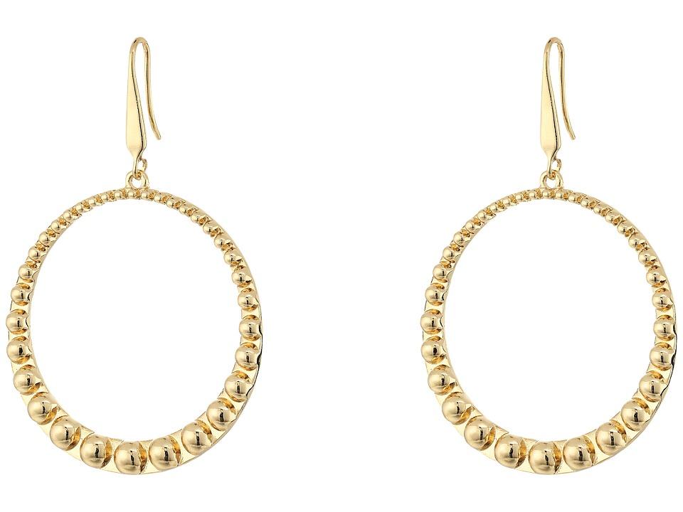 Steve Madden 40mm Beaded Design Hoop Earrings (Gold) Earring