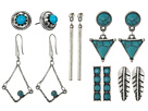 Steve Madden Turquoise Halo Bar Dangling Triangle Feather Chain Tassel and Diamond Shaped Post Earrings Set
