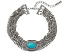 Oval Turquoise Stone w/ Four Row Chain Choker Necklace