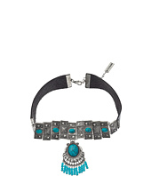 Steve Madden - Triangle Stud Embedded Turquoise Stone w/ Beaded Fringe Choker Necklace