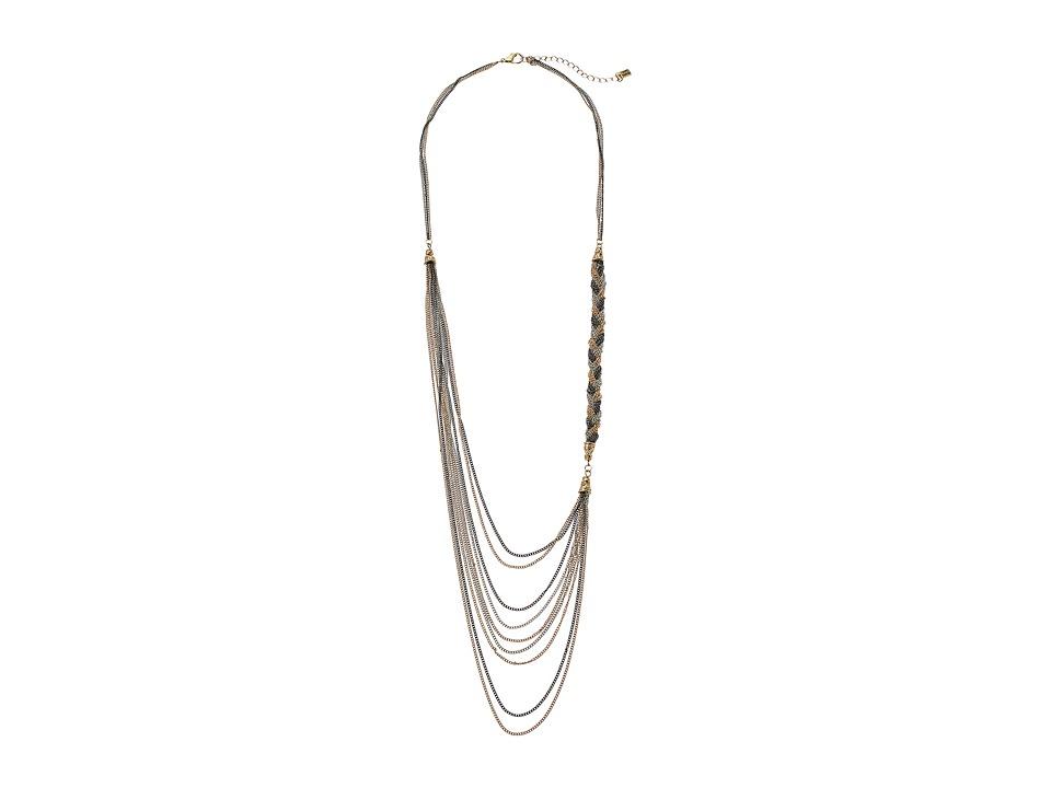 Steve Madden Multi-Strand Braided Chain Necklace (Tri-Ton...