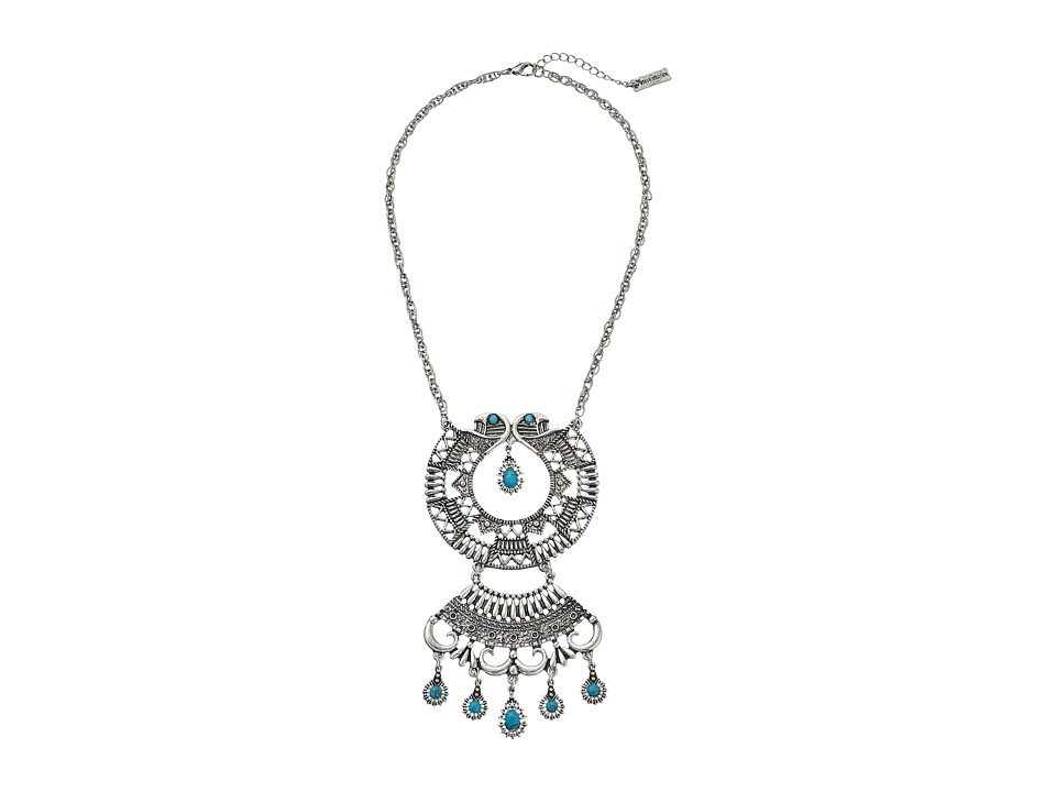 Steve Madden - Turquoise Stone Round Geo Discs Cable Chain Necklace (Silver) Necklace